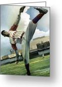 Negro Leagues Painting Greeting Cards - Satchel Greeting Card by Rich Marks