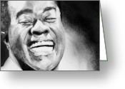 Graphite Mixed Media Greeting Cards - Satchmo Greeting Card by Carrie Jackson