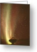 Antenna Greeting Cards - Satellite-tracking Antenna Greeting Card by Alan Sirulnikoff