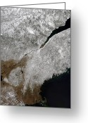 York Maine Greeting Cards - Satellite View Of A Frosty Landscape Greeting Card by Stocktrek Images