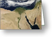 Nile River Greeting Cards - Satellite View Of Cairo, Egypt Greeting Card by Stocktrek Images