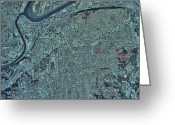 Kansas City Missouri Greeting Cards - Satellite View Of Kansas City, Missouri Greeting Card by Stocktrek Images