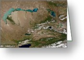 Arid Country Greeting Cards - Satellite View Of Lake Balkhash Greeting Card by Stocktrek Images