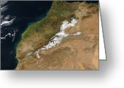Arid Country Greeting Cards - Satellite View Of Morocco Greeting Card by Stocktrek Images