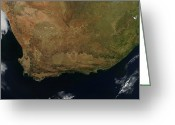 Arid Country Greeting Cards - Satellite View Of South Africa Greeting Card by Stocktrek Images