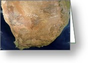 Arid Country Greeting Cards - Satellite View Of Southern Africa Greeting Card by Stocktrek Images