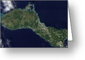 Oceania Greeting Cards - Satellite View Of The Island Of Guam Greeting Card by Stocktrek Images