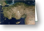 Marmara Greeting Cards - Satellite View Of Turkey And The Island Greeting Card by Stocktrek Images
