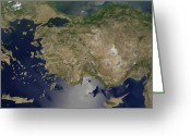 Marmara Greeting Cards - Satellite View Of Turkey Greeting Card by Stocktrek Images
