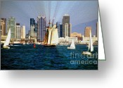 "\""pirate Ship\\\"" Greeting Cards - Saturday in San Diego Bay Greeting Card by Cheryl Young"