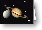 Saturn Greeting Cards - Saturn And Satellites Greeting Card by John Foxx