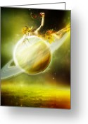 Scythe Greeting Cards - Saturn Greeting Card by Karen Koski