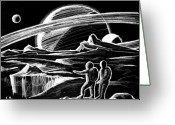 Exploration Drawings Greeting Cards - Saturn Visitors Greeting Card by Daniel Gouws