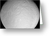 Gully Greeting Cards - Saturns Icy Moon Rhea Greeting Card by Stocktrek Images