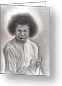 Reverence Drawings Greeting Cards - Satya Sai Baba Greeting Card by Vijaykrishna Ravichandran