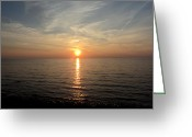Sunset.lakehuron Greeting Cards - Sauble Sunset Greeting Card by Merv Scoble