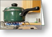 Hob Greeting Cards - Saucepan On A Gas Hob Greeting Card by Martyn F. Chillmaid