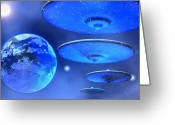 Comet Greeting Cards - Saucers Greeting Card by Corey Ford