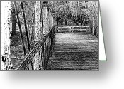 Discovery Channel Greeting Cards - Saucon Creek Bridge - BW Greeting Card by D L McDowell-Hiss