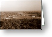 Photograph Greeting Cards - Saugatuck Michigan Harbor Aerial Photograph Greeting Card by Michelle Calkins
