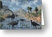 Dinosaurs Greeting Cards - Sauropod And Duckbill Dinosaurs Feed Greeting Card by Mark Stevenson