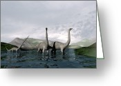 Dinosaurs Greeting Cards - Sauropod Dinosaurs Greeting Card by Christian Darkin