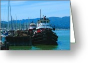 Sausalito Mixed Media Greeting Cards - Sausalito harbor Tugs  Greeting Card by Nick Diemel