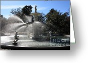 Savannah Square Greeting Cards - Savannah Fountain Greeting Card by Carol Groenen