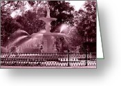 Savannah Square Greeting Cards - Savannah Fountain in Pink Greeting Card by Carol Groenen