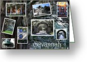 Landscape Posters Greeting Cards - Savannah Scenes Collage Greeting Card by Carol Groenen