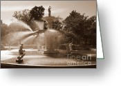 Savannah Square Greeting Cards - Savannah Sepia - Fountain Greeting Card by Carol Groenen