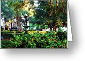 Savannah Square Greeting Cards - Savannah Square Greeting Card by Joan  Minchak