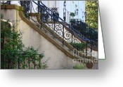 Wrought Iron Stairs Greeting Cards - Savannah Stairs Greeting Card by Carol Groenen
