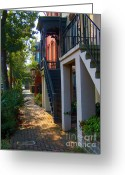 Savannah Square Greeting Cards - Savannah Streets Greeting Card by M J Glisson