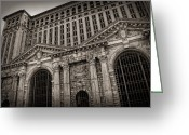 Venerable Greeting Cards - SAVE THE DEPOT - Michigan Central Station Corktown - Detroit Michigan Greeting Card by Gordon Dean II
