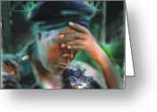 Haitian Greeting Cards - Save Us Greeting Card by Bob Salo