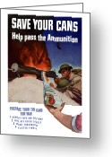 Second Greeting Cards - Save Your Cans Help Pass The Ammunition Greeting Card by War Is Hell Store