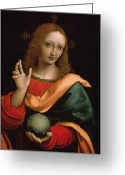 Orb Greeting Cards - Saviour of the World Greeting Card by Giovanni Pedrini Giampietrino