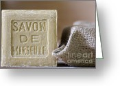 Bath Greeting Cards - Savon de Marseille Greeting Card by Frank Tschakert