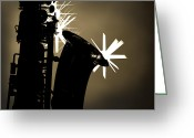 Museum Print Greeting Cards - Sax Black and White Greeting Card by M K  Miller