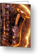 Performing Greeting Cards - Sax with sparks Greeting Card by Garry Gay