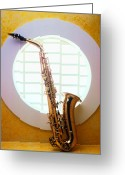 Horn Greeting Cards - Saxophone in round window Greeting Card by Garry Gay