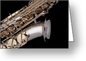 Stretched Canvas Greeting Cards - Saxophone Isolated Black Greeting Card by M K  Miller