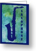 Sax Greeting Cards - Saxophone Greeting Card by Jenny Armitage