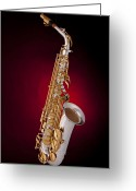 Mac Miller Greeting Cards - Saxophone on Red Spotlight Greeting Card by M K  Miller