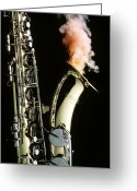 Brass Instruments Greeting Cards - Saxophone with smoke Greeting Card by Garry Gay
