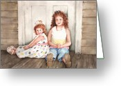 Redhead Greeting Cards - Sayler and Tayzlee Greeting Card by Sam Sidders