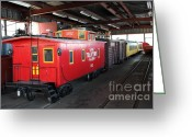 Amusement Parks Greeting Cards - Scale Caboose - Traintown Sonoma California - 5D19240 Greeting Card by Wingsdomain Art and Photography
