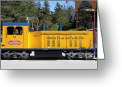 Amusement Parks Greeting Cards - Scale Locomotive - Traintown Sonoma California - 5D19237 Greeting Card by Wingsdomain Art and Photography