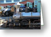 Amusement Parks Greeting Cards - Scale Steam Locomotives - Traintown Sonoma California - 5D19200 Greeting Card by Wingsdomain Art and Photography